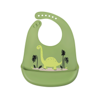 Śliniak silikonowy z kieszonką Dinozaur